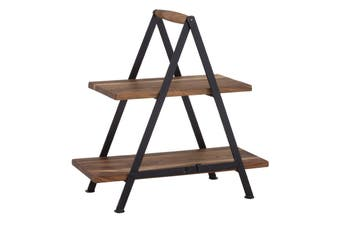 Fine Foods 2 Tier Acacia and Iron Serving Stand