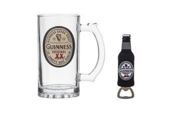 Guinness Beer Glass Tankard and Magnetic Bottle Opener Gift Set
