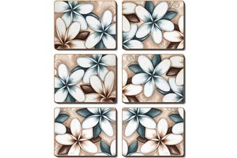 Cinnamon Cork Backed Coasters Set of 6 Ocean Frangipani