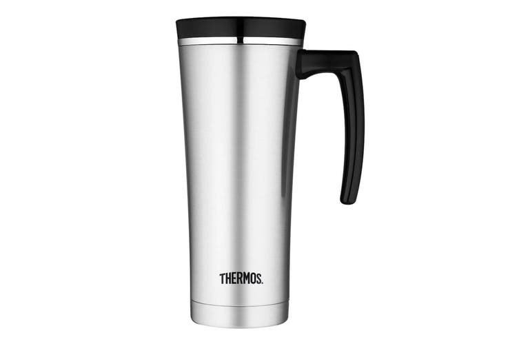 Thermos 470Ml Travel Mug - Silver And Black Trim