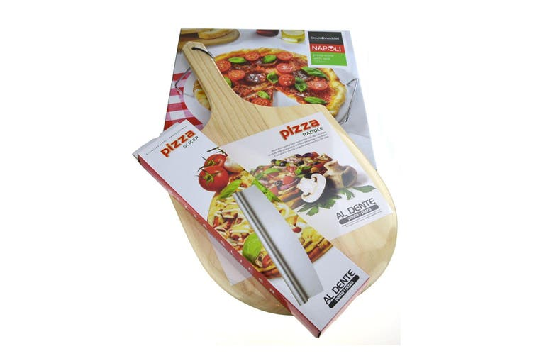 33cm Pizza Stone + Serving Rack + Paddle + Rocking Cutter