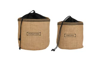 Hessian Preserving Bag Set - Potato And Onion