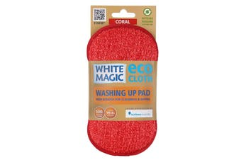 White Magic Microfibre Washing Up Pad Coral