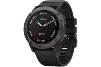 GARMIN fenix 6X Multisport GPS Watch Sapphire Carbon Grey DLC with Black Band