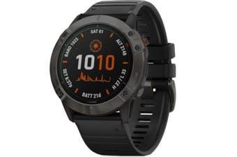 GARMIN fenix 6X Pro Solar Multisport GPS Watch Solar Titanium Grey DLC Blk Band