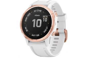 GARMIN fenix 6S Pro Multisport GPS Watch Rose Gold-Tone with White Band