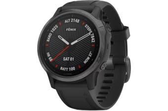 GARMIN fenix 6S Multisport GPS Watch Sapphire Carbon Gray DLC with Black Band