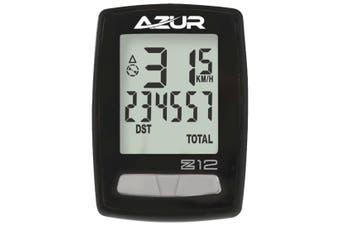 Azur Z12 Wired 12 Function Bike Computer Black