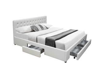 Julie Drawerrs Storage Bed Frame -White