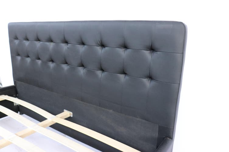 Julie PU Leather Queen Bed with Drawers - Black-Queen
