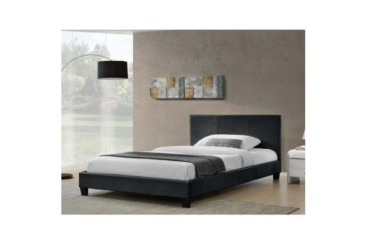 Monica PU Leather Queen Bed - Black