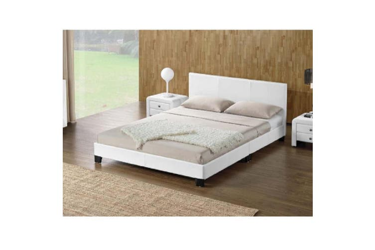 Monica PU Leather Queen Bed - White-Queen