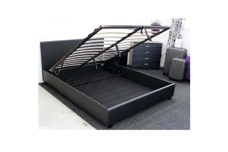 Monica Gas Lift PU Leather Queen Bed - Black-Queen