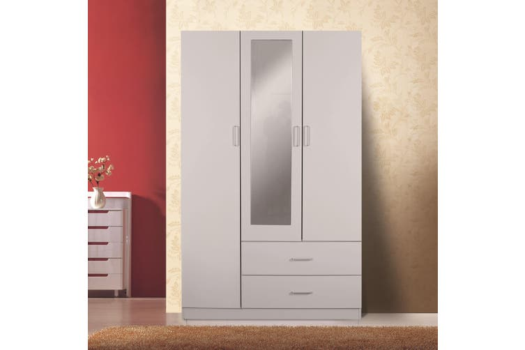 Redfern 3 Door 2 Drawer Wardrobe with Mirror - White