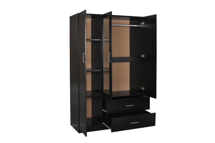 Redfern 3 Door 2 Drawer Wardrobe with Mirror-Black