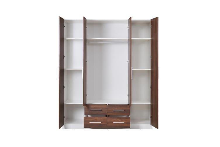 Zetland Wardrobe 4 Door 4 Drawer with Mirror - Walnut