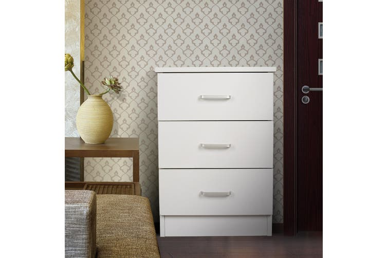 Redfern 3 Drawers Bedside - White