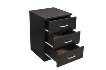 Redfern 3 Drawers Bedside - Black