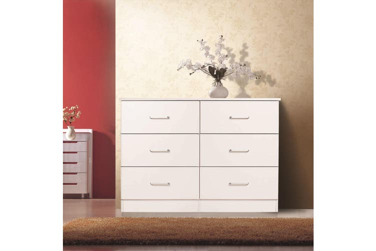 Redfern Lowboy 6 Drawers Chest-White