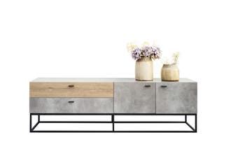 Jay TV Stand - Cement and Dark Oak