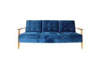 Lindy Timber arm Sofa Bed-Blue