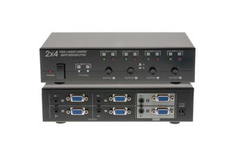 PRO1338 Pro2 2X4 VGA + Audio Matrix Switcher Splitter  2X PC Inputs With 'PC On' Indicator  2X4 VGA + AUDIO MATRIX