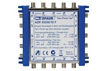 AZR5525010F SPAUN 10Db 5 Wire 2 Way Tap Cascade Spaun  Inputs: 4Xsat, 1Xterr  10DB 5 WIRE 2 WAY TAP CASCADE