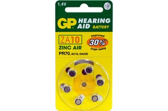 ZA10B6 GP Hearing Aid Battery, 6 Pack Size 10, Pr70, Ac10 - Gp  Typical Battery Lifetimes Run Between 1 and 14 Days  10