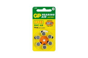ZA13B6 GP Hearing Aid Battery, 6 Pack Size 13, Pr48, Ac13 - Gp  Typical Battery Lifetimes Run Between 1 and 14 Days  13