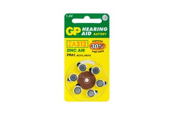 ZA312B6 GP Hearing Aid Battery, 6 Pack Size 312, Pr41, Ac312 - Gp  Typical Battery Lifetimes Run Between 1 and 14 Days  312
