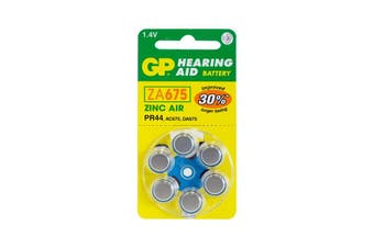 ZA675B6 GP Hearing Aid Battery, 6 Pack Size 675, Pr44, Ac675 - Gp  Typical Battery Lifetimes Run Between 1 and 14 Days  675