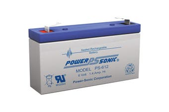 PS612 POWER SONIC 6V 1.4Amp Sla Battery F1 Terminal Sealed Lead Acid  Size:97 X 24 X 51 Weight:300G  97 x 24 x 51 Weight:300g