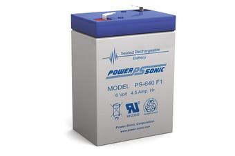 PS640 POWER SONIC 6V 4.5Amp Sla Battery F1 Terminal Sealed Lead Acid  Size:70 X 47 X 100 Weight:730G  70 x 47 x 100 Weight:730g