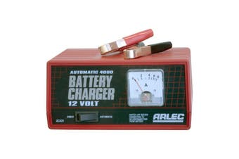 BC906 ARLEC 4Amp 12V Auto Battery Charger Overcharge Protection Arlec  Automatically Prevents Overcharge  4AMP 12V AUTO BATTERY CHARGER