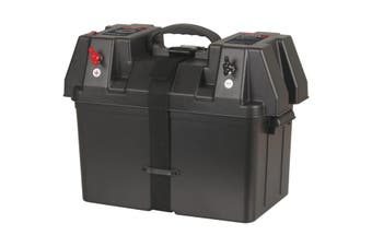HB8502 POWERTECH Battery Box With Volt Meter USB Charger  Suits Batteries Up To 325(W) X 200(H) X 185(D)mm  BATTERY BOX WITH VOLT METER