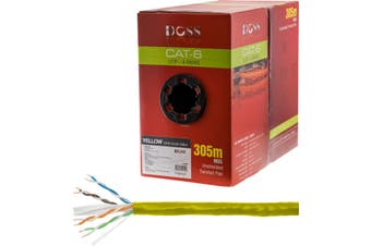 C6RYLW DOSS 305M Cat6 Solid Cable Yellow Sold As 305M Roll Only    305M CAT6 SOLID CABLE YELLOW