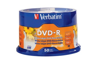 VDVD-R50P VERBATIM 50Pk DVD-R Printable Spindle 16X 4.7Gb Verbatim  Full-Colour, High Resolution, Photo-Quality Printing Full-Colour, High Resolution, Photo-Quality Printing 50PK DVD-R PRINTABLE