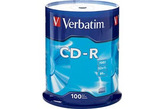 VCDR-100  100Pk Verbatim CD-R Spindle   Compatible With Leading CD-R Drive Manufacturers  100PK VERBATIM CD-R SPINDLE