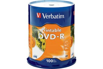 VDVD-R100P VERBATIM 100Pk DVD-R Printable Spindle 16X 4.7Gb Verbatim  Full-Colour, High Resolution, Photo-Quality Printing Full-Colour, High Resolution, Photo-Quality Printing 100PK DVD-R PRINTABLE
