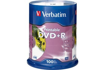 VDVD+R100P VERBATIM DVD+R 100Pk Printable 16X 4.7Gb  Full-Colour, High Resolution, Photo-Quality Printing Full-Colour, High Resolution, Photo-Quality Printing DVD+R 100PK PRINTABLE 16X