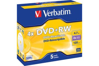 VDVD+RW5 VERBATIM 5Pk DVD+Rw In Jewel Case 1-4X 4.7Gb Verbatim  Type: DVD+Rw Re-Writeable  5PK DVD+RW IN JEWEL CASE