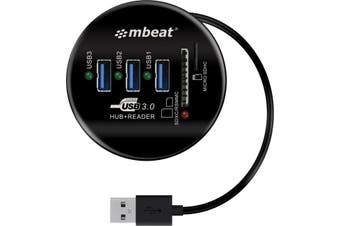HCR518 MBEAT 3 Port USB Hub and Card Reader Usb3.0  Portable and Tuck-Away Cable Design  3 PORT USB HUB and CARD READER