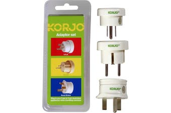 KASET KORJO Australian Travellers 3 Pack Korjo - Fit3  This Value Pack Combines the Usa, Uk and European Plugs For Almost Global Coverage  AUSTRALIAN TRAVELLERS 3 PACK