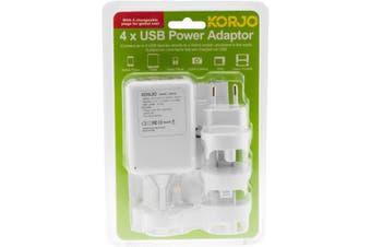 USB04 KORJO Interchangeable Worldwide Plug With 4 X USB Outlet Korjo    INTERCHANGEABLE WORLDWIDE PLUG