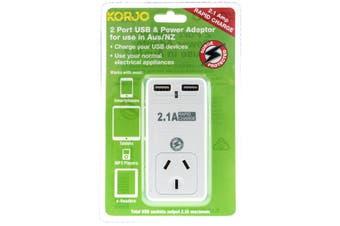 USB2X2AU KORJO 2 Port USB and Power Adaptor Australia Only  2 X USB Outlets  2 PORT USB and POWER ADAPTOR