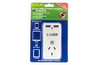 USB2X2UK KORJO 2 Port USB and Power Adaptor United Kingdom & Australia  For Use In the United Kingdom and Australia  2 PORT USB and POWER ADAPTOR