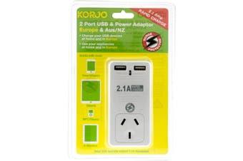 USB2X2EU KORJO 2 Port USB and Power Adaptor Europe & Australia  For Use In Europe and Australia  2 PORT USB and POWER ADAPTOR