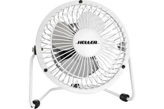 HVF10UW HELLER 10Cm Mini High Velocity Fan White Metal - USB Power Source  Colour: White  10CM MINI HIGH VELOCITY FAN
