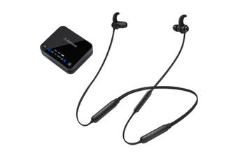 HT4186BLK AVANTREE Wireless Neckband Earbuds For TV With Transmitter 30M  Dual-Link Technology Allows the Pairing of a Second Bt Headphone  WIRELESS NECKBAND EARBUDS