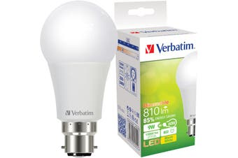 65321 VERBATIM Dimmable B22 LED Globe 810Lm 9W 2700K Warm White  TRIAC Dimmable  DIMMABLE B22 LED GLOBE 810LM
